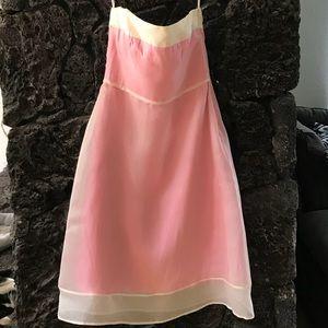 THREAD pink & cream strapless dress taffeta